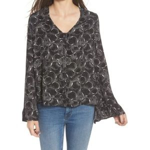 Hinge Womens Size L Black Blouse
